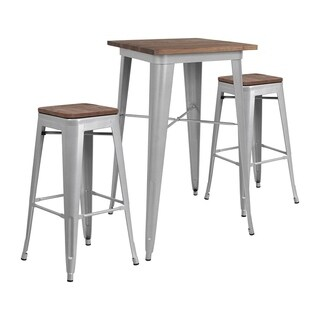 "Offex 23.5"" Square Silver Metal Bar Table Set with Wood Top and 2 Backless Stools - N/A"
