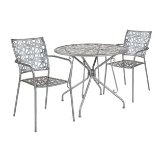 """Offex 35.25"""" Round Antique Silver Indoor Outdoor Steel Patio Table with 2 Stack Chairs"""