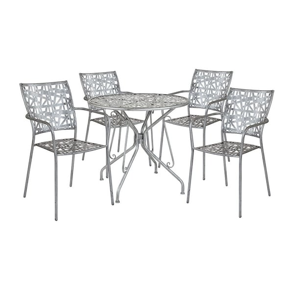 Silver Patio Furniture.Offex 31 5 Round Antique Silver Indoor Outdoor Steel Patio Table With 4 Stack Chairs