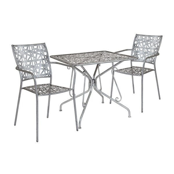 """Offex 31.5"""" Square Antique Silver Indoor Outdoor Steel Patio Table with 2 Stack Chairs"""