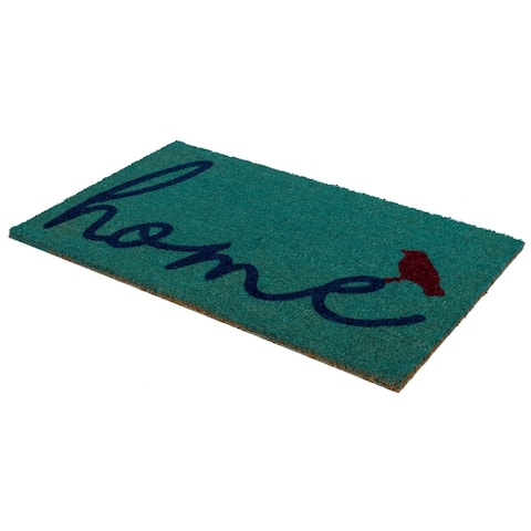 "Handmade A Bird Perched on Home Natural Rubber Non-Slip Durable Doormat (India) - 18"" x 30"""