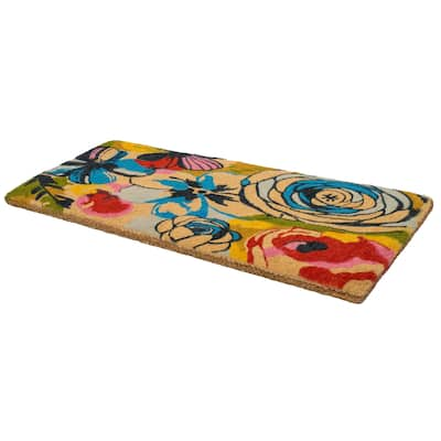 """Handmade Watercolor Floral Extra Thick Durable Doormat (India) - 24"""" x 57"""""""
