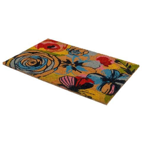 Watercolor Floral Doormat - Natural Rubber (18' x 30') - Non-Slip