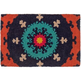 Suzani Doormat 24 x 36, Extra Thick Handwoven, Durable