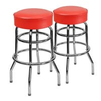 Lancaster Home Chrome Finish Metal and Vinyl Double Ring Modern Stool (Set of 2)