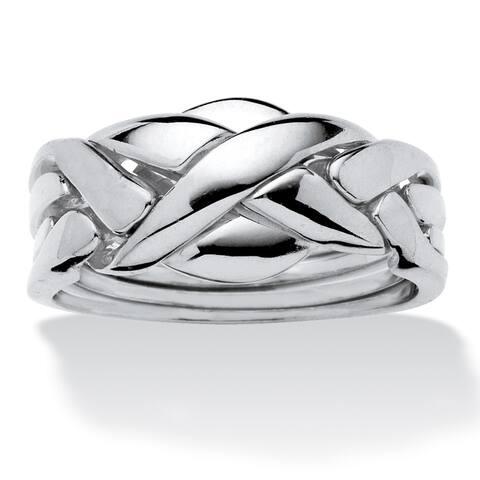 Platinum-Plated Commitment Symbol Puzzle Ring