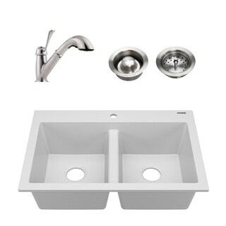Whitney White All-in-One Granite Composite Sink and Pfister Bixby Faucet