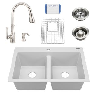 Whitney White All-in-One Granite Composite Sink and Pfister Wheaton Faucet