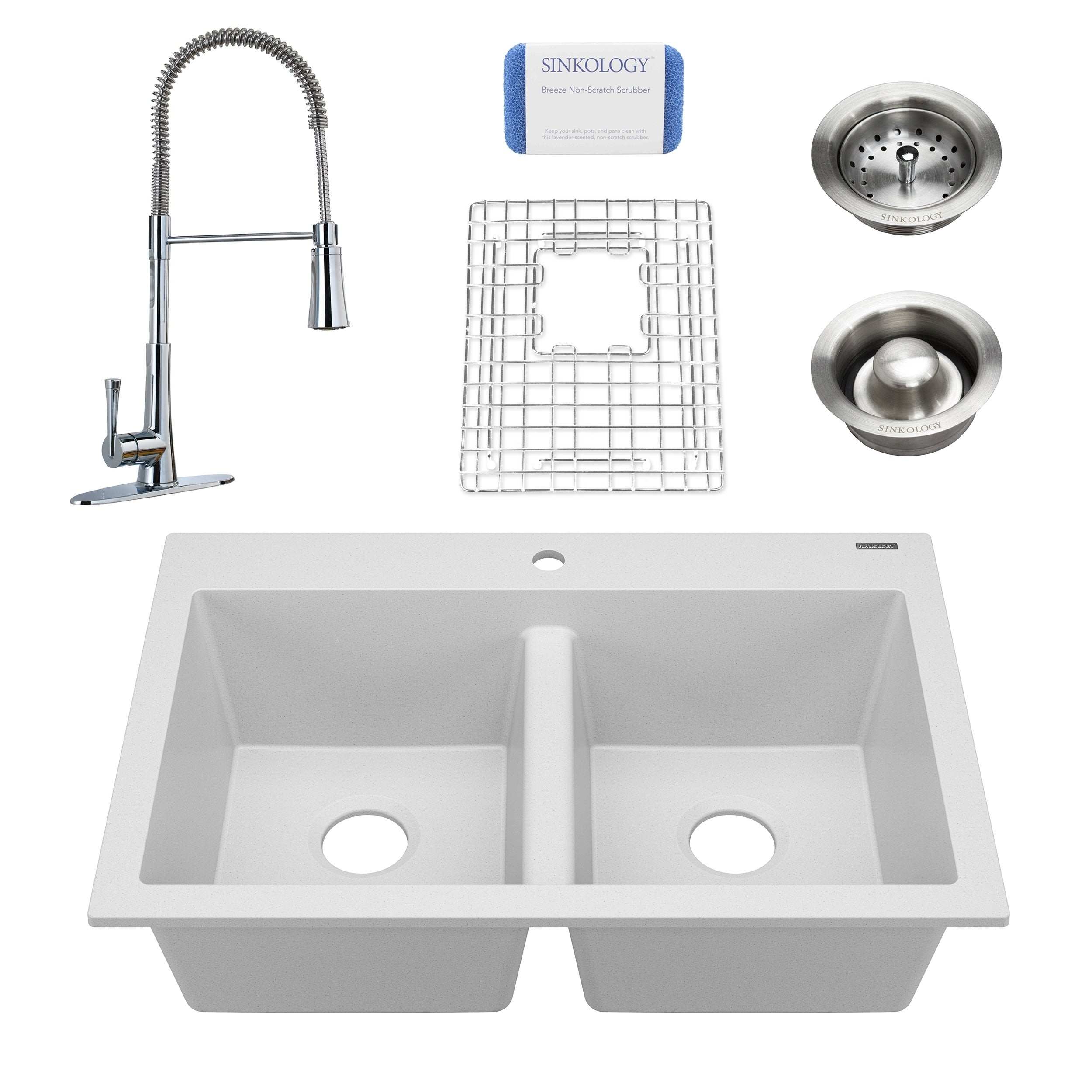 Whitney White All In One Granite Composite Sink And Pfister Zuri Faucet Free Shipping Today 26260156