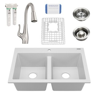 Whitney White All-in-One Granite Composite Sink and Pfister Clarify Faucet