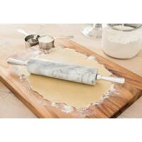 Fox Run Marble Rolling Pin and Base with Aluminum Handles, White