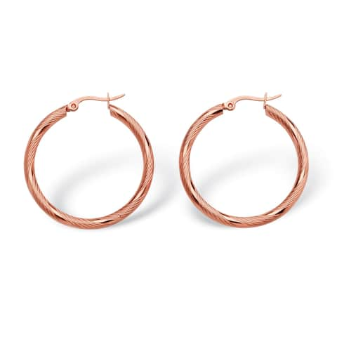 Rose Stainless Steel Textured Hoop Earrings (35mm)