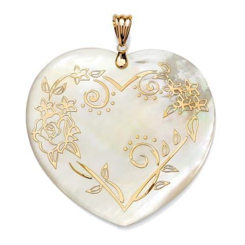 14K Yellow Gold Floral Motif Heart Pendant Genuine Mother of Pearl