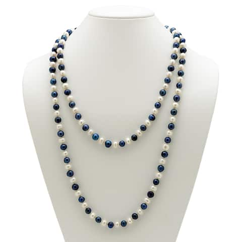 Endless Necklace Genuine Freshwater Cultured and Blue Pearls, 48