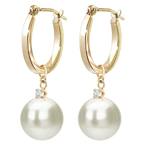 DaVonna 14k Yellow Gold 1/10cttw Diamond White Freshwater Pearl Dangle Earrings