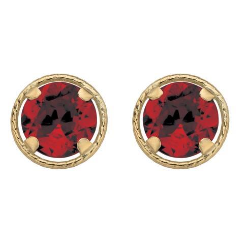 10k Yellow Gold Genuine Birthstone Button Earrings