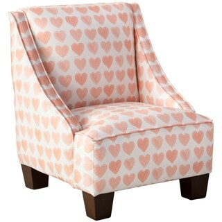 Skyline Furniture Kids Swoop Arm Chair in Hearts Peach