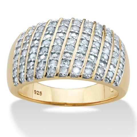 Yellow Gold over Sterling Silver Round Genuine Diamond Ring (1/2 cttw)