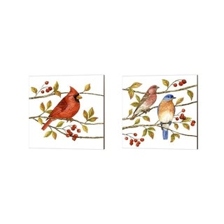 Jane Maday 'Birds & Berries' Canvas Art (Set of 2)