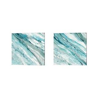 Albena Hristova 'Silver Springs Blue Green' Canvas Art (Set of 2)