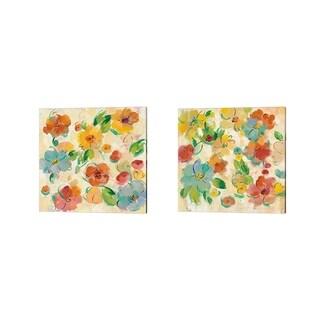 Silvia Vassileva 'Playful Floral Trio' Canvas Art (Set of 2)