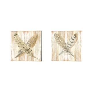 Cindy Jacobs 'Feathers Crossed' Canvas Art (Set of 2)