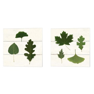 Porch & Den Leaf Chart Shiplap' Canvas Art (Set of 2)