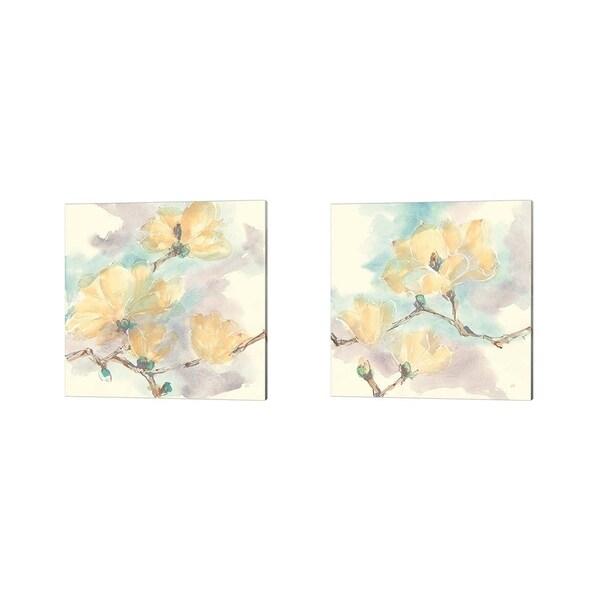 Chris Paschke 'Magnolias in White' Canvas Art (Set of 2)