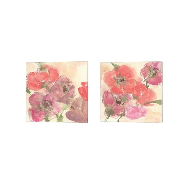 Chris Paschke 'Coral Blooms' Canvas Art (Set of 2)