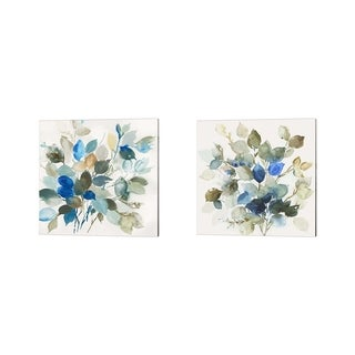 Asia Jensen 'Blue Leaves' Canvas Art (Set of 2)