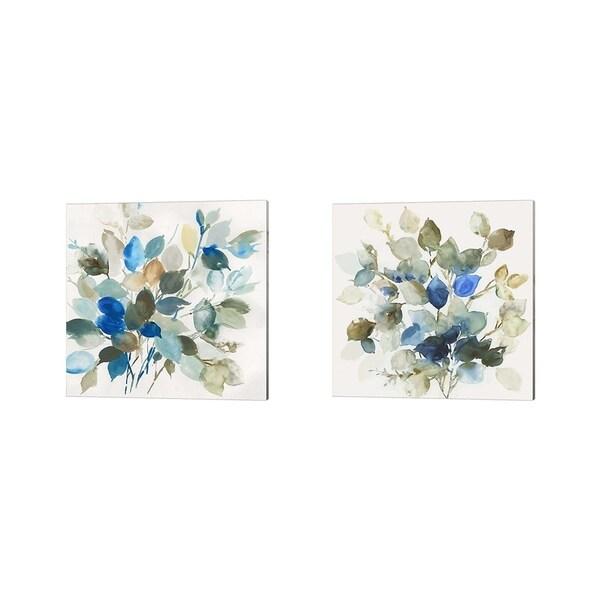 Asia Jensen 'Blue Leaves' Canvas Art (Set of 2)