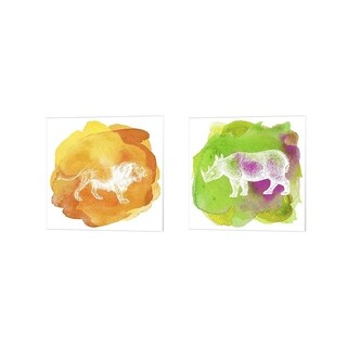 Tina Lavoie 'Color Spot Safari Animals B' Canvas Art (Set of 2)