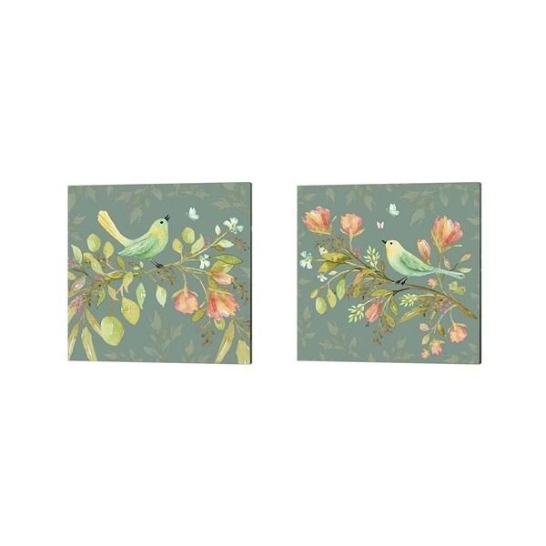 Yachal Design 'Bird in Wildflower Garden' Canvas Art (Set of 2)