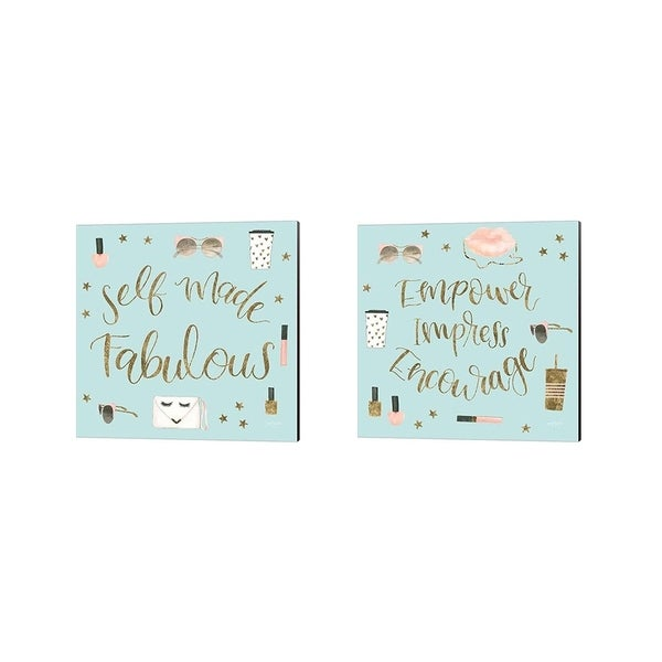 Jenaya Jackson 'Boss Ladies Mint' Canvas Art (Set of 2)