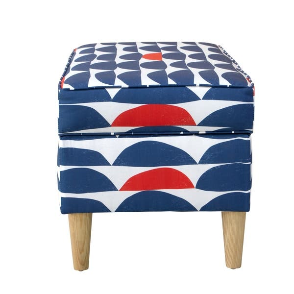 Remarkable Shop Skyline Furniture Storage Bench In Halfmoon Navy Red Unemploymentrelief Wooden Chair Designs For Living Room Unemploymentrelieforg