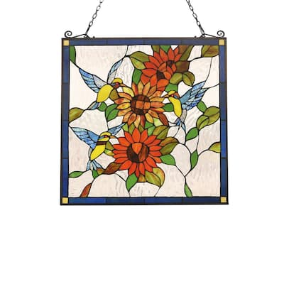 Tiffany Style Bird and Flower Design Suncatcher