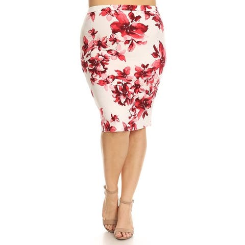 Women's Casual Plus Size Stretch Lightweight Basic Pattern Fitted Pencil Skirt