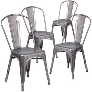 "4PK Clear Coated Metal Indoor Stackable Chair - 17.75""W x 21""D x 33.5""H"