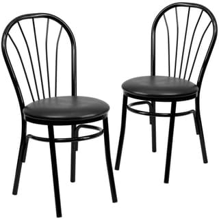"2PK Fan Back Metal Chair- Hospitality Seating - 16""W x 20""D x 34.5""H"