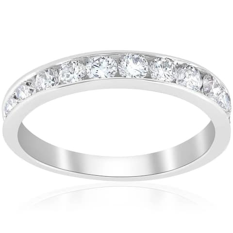 Pompeii3 Platinum 1 Ct TDW Diamond Channel Set Wedding Ring Womens Anniversary Band