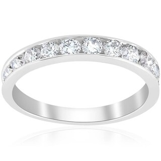 Bliss Platinum 1 Ct TDW Diamond Channel Set Wedding Ring Womens Anniversary Band