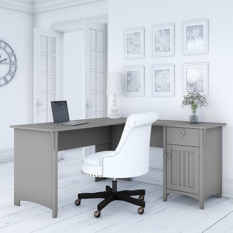 The Gray Barn Lowbridge Cape Cod Grey L-shaped Storage Desk