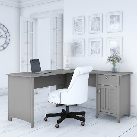 The Gray Barn Lowbridge Cape Cod Grey L-shaped Storage Desk