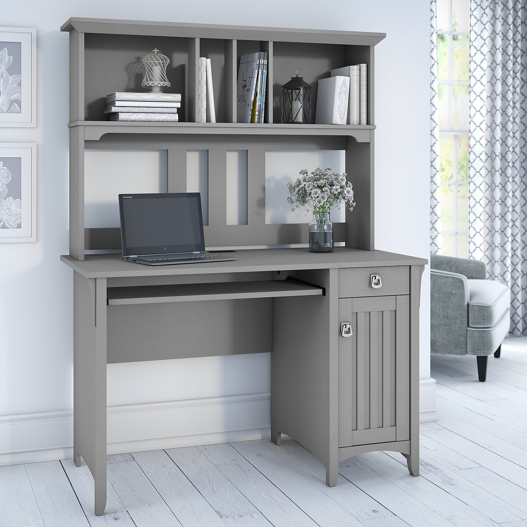 The Gray Barn Lowbridge Cape Cod Grey Computer Desk with Hutch