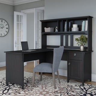 The Gray Barn Ermine 60-inch L-shaped Desk with Hutch in Vintage Black