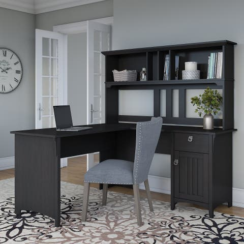 The Curated Nomad Ermine 60-inch L-shaped Desk with Hutch in Vintage Black