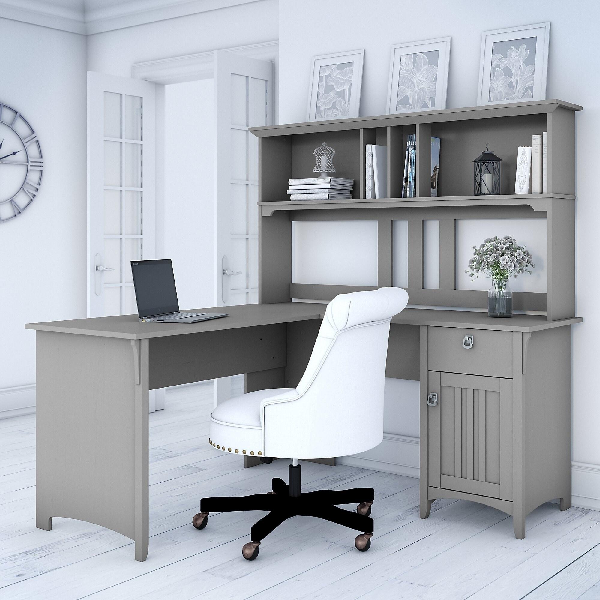 The Gray Barn Lowbridge Cape Cod Grey L Shaped Desk With Hutch
