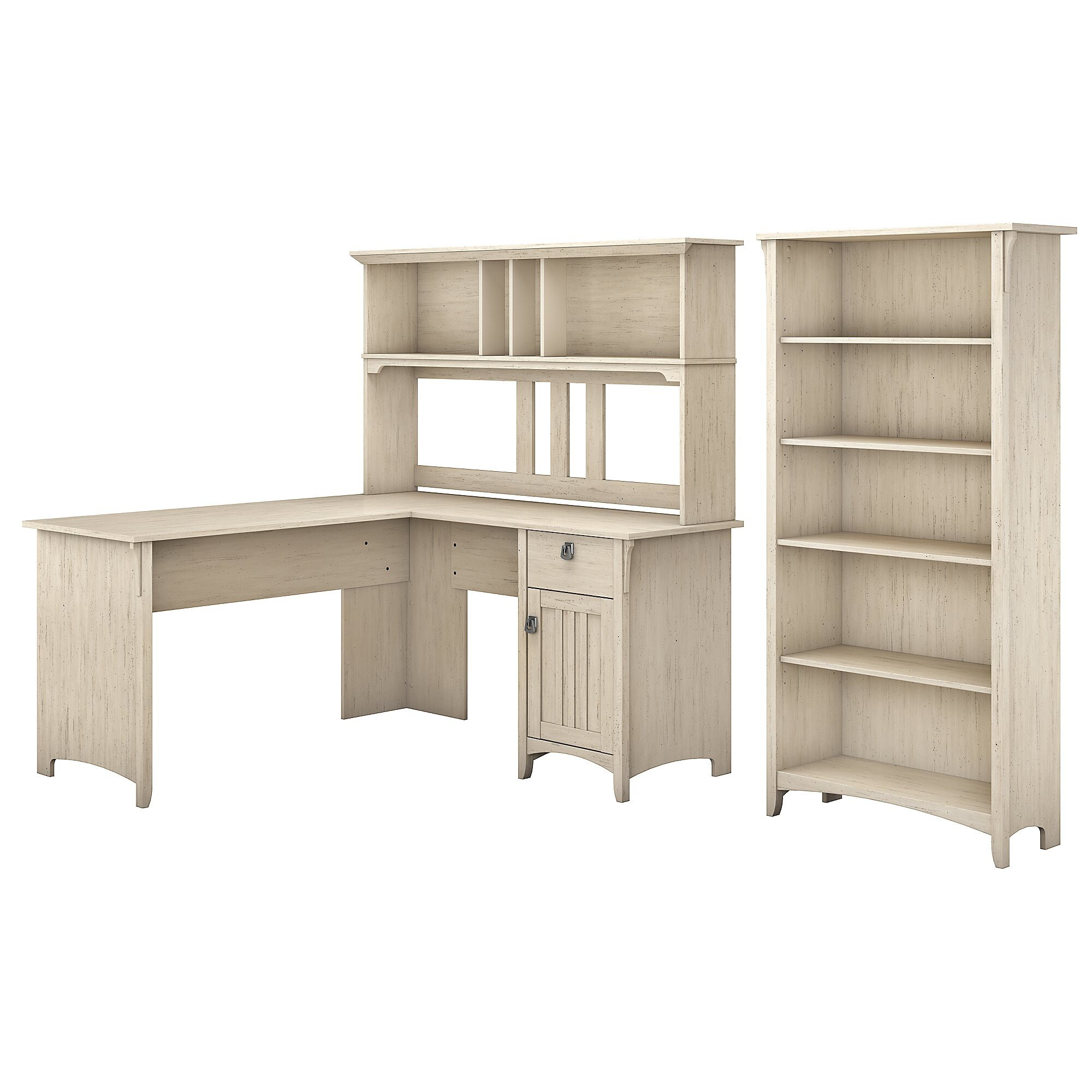 The Gray Barn Ermine 60 Inch L Shaped Desk With Hutch And 5 Shelf Bookcase In White