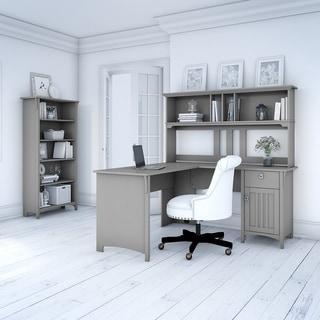The Gray Barn Lowbridge Cape Cod Grey L-shaped Desk with Hutch and 5-shelf Bookcase