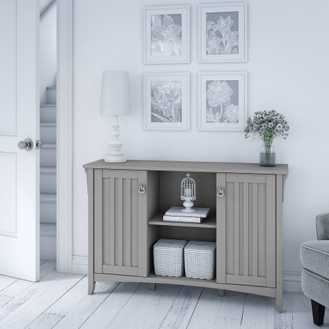 """The Gray Barn Lowbridge Cape Cod Grey Accent Storage Cabinet with Doors - 46.22""""L x 12.76""""W x 29.96""""H"""
